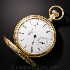 "A perfectly exquisite ladies hunter's case pendant or pocket watch masterfully crafted in 14 karat rose gold by Elgin. The case is elaborately ornamented with platinum, green gold and rose gold applique elements derived from nature. The front side depicts a mother bird feeding her chick in her nest further decorated with leaves and garlands. The reverse side continues the leaf and garland motif around a central medallion with script initials ""OEC"". Porcelain dial with Roman nume..."