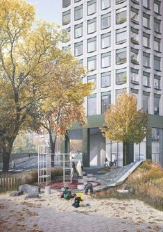 Proposed playspace and residential building entrance, Southall Tower, Gort Scott Architects