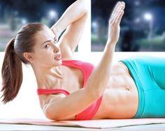 Die untere Schulter mit Arm anheben, um die seitlichen Bauchmuskeln trainieren.