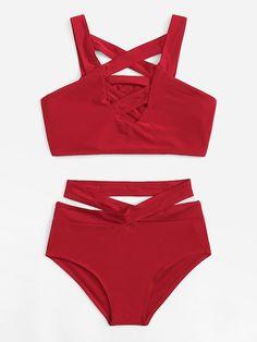 a01434d041 Shop Criss Cross High Waist Bikini Set online. SheIn offers Criss Cross  High Waist Bikini