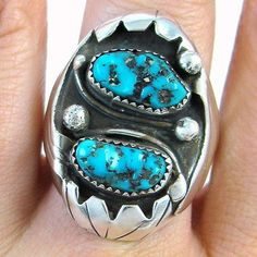 Vintage-Navajo-Handmade-Solid-925-Sterling-Silver-Turquoise-Ring-Sz-9-5-J-BA