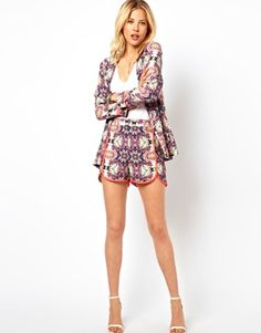 ASOS Shorts In Abstract Print With Fluro Binding