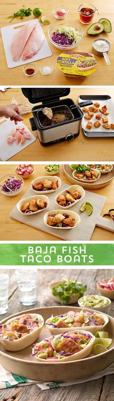 Surf, sun, sand and fish tacos... everything California is made of. These Baja Fish Tacos are packed with California flavor! Spicy beer-battered white fish filets, crunchy cabbage, radishes and avocados piled high in Old El Paso Taco Boats™ make a mouth-watering taco that will have you feeling those Cali vibes!