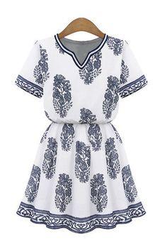 Graphic Blue Print White Tunic