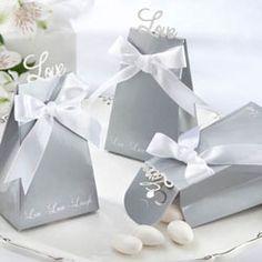 "Silver ""Love"" favor boxes"