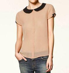 Peter Pan Collar Back Button Down Chiffon Shirt Peter Pan Collar Blouse, Collar Top, Casual Outfits, Fashion Outfits, Casual Shirts, Chiffon Shirt, Shirt Blouses, Collar Shirts, Collars