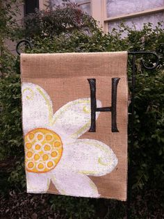 Burlap Daisy Garden Flag Monogram Personalize. I know this is from Etsy......but I can soooo do this!!
