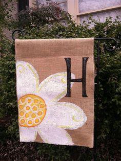 Burlap Daisy Garden Flag Monogram Personalize.