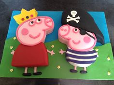 Princess Peppa Pig and Pirate George Pig cakes!
