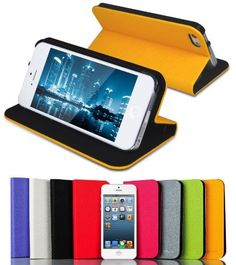 JETech® Diamond Folio Leather Smart Cover iPhone 5 Case for Apple iPhone 5 5S 5G (AT&T, T-Mobile, Sprint, Verizon) with Built-in Stand and Front/Back Protection - Yellow by JETech, http://www.amazon.com/dp/B00CYVOA0O/ref=cm_sw_r_pi_dp_4Z0wsb0A8WKQS