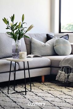 The clean, simple lines of the Tana Sofa are a great foundation for textured cushions and throws. Castlery—Accessible Designs for the Modern Home Home Living Room, Apartment Living, Living Room Decor, Home Room Design, Living Room Designs, Layout Design, Room Interior, Interior Design, Reno