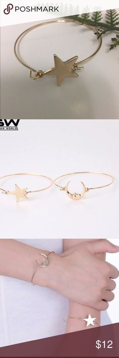 Golden Star Bangle Golden star bangle is not adjustable and suitable for smaller wrists. See separate listing for moon bangle.   All Pineapple.PalmBeach jewelry and hair pins come packaged on crisp white packaging and tucked carefully into white chiffon pouches ready for you or a friend to enjoy!   Don't forget to shop my closet for a bundle discount!   🍍Suggested User! 🍍5 Star Rated Seller!  🍍Same or next day shipper! 🚫No trades Pineapple.PalmBeach Jewelry Bracelets