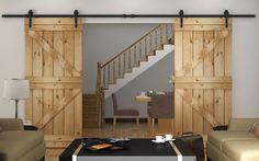 366センチ矢印型ダブルドアスライディング納屋ドアハードウェアインテリアアメリカスライディング納屋のドアキット