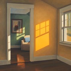 Paintings of absence and melancholy (I) – Chairs and windows by Jim Holland Painting Inspiration, Art Inspo, Edward Hopper Paintings, Motif Art Deco, Posca Art, Green Rooms, Windows, Oeuvre D'art, Cool Art