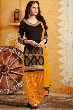 Buy Urban India Black Poly Cotton Embroidered Unstitched Patiala Style Suit - online in India at best price.Product Condition : New With Tag Product Fabric : Suit ( Top ) - Poly Cotton , Salwar ( Bottom ) - Poly Latest Pakistani Dresses, Pakistani Dress Design, Pakistani Outfits, Indian Dresses, Indian Outfits, Salwar Designs, Blouse Designs, Patiala Salwar, Patiala Dress