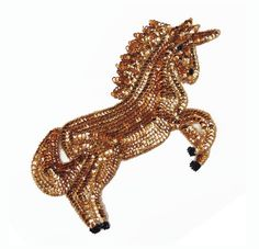 Large gold sequin and beads UNICORN applique patch  Measures aprox. 28 cm x 17 cm or 11 x 6.6 inches  Easy to sew on or glue on.  If you have any