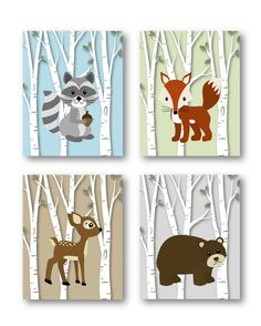Woodland Nursery Decor // Woodland Nursery Art // Forest Animals Nursery Art // Animal Nursery // Animal Wall Art // PRINTS ONLY by LittlePergola on Etsy https://www.etsy.com/listing/270824813/woodland-nursery-decor-woodland-nursery