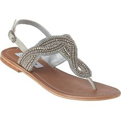 STEVE MADDEN SHOES Shiekk Thong Sandal Pewter Leather ($67) found on Polyvore