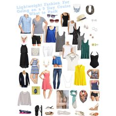 """""""Lightweight fashion for going on a 9 day cruise: What to pack!"""" by jade-c-vafadar on Polyvore"""