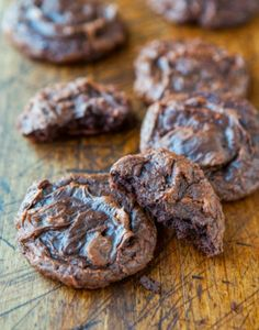 Soft and Chewy Brownie Cookies ima but under cookies since there in cookie form and might as well be called chocolate cookies