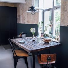 Kitchen of the Week: A DIY Ikea Country Kitchen for Two Berlin Creatives (Remodelista: Sourcebook for the Considered Home) Vintage Industrial Furniture, Industrial Lamps, Reclaimed Furniture, Refinished Furniture, Industrial Living, Pipe Furniture, Antique Furniture, Furniture Design, Ikea Cabinets