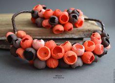 Купить Комплект Бутоны кораллово-шоколадные из полимерной глины. - коралловый, колье, браслет, колье бутоны