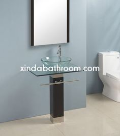 Art Exhibition Xinda Bathroom Cabinet Co LTD provide the reliable quality glass vanities and glass bathroom