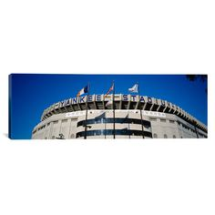 "East Urban Home Panoramic Flags in front of a Stadium, Yankee Stadium, New York City, New York Photographic Print on Canvas Size: 24"" H x 72"" W x 1..."