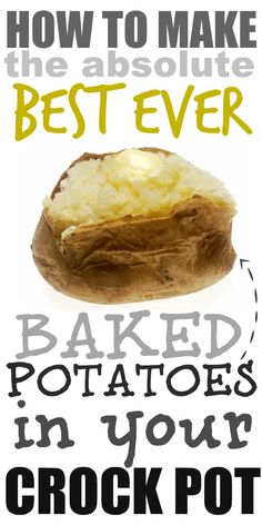 How to make the most amazing, fluffy baked potatoes right in your crock pot! How to make the most amazing, fluffy baked potatoes right in your crock pot! Crock Pot Food, Crockpot Dishes, Crock Pot Slow Cooker, Slow Cooker Recipes, Cooking Recipes, Crockpot Meals, Skillet Recipes, Crock Pot Dinners, Crock Pot Bread