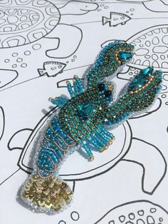 Lobster brooch cancer jewelry zodiac sign ocean summer