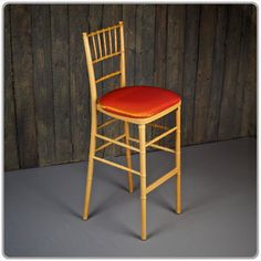 """Natural Chiavari Bar Stool -  45 1/2"""" tall seat is 30"""" from the floor. Available with a tie-on chair pad in black, white and ivory. Micro suede or Topaz seat pad covers also available separately."""