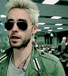 Jared Leto, jacket, short blond hair, sunglasses