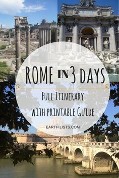 3 Day Rome Itinerary, hitting all the major sites and areas of the eternal city. Includes a printable guide to take with you.