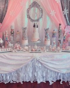 Pretty Pink Winter Wonderland Dessert Table designsbyalexandraStill dreaming about the gorgeous details from this weekend's wintery wonderland ❄️🧚🏻‍♀️🍭🍬 Decor Cake Lady K's Bake Shop Desserts Cake Stands Opulent Treasures Linens CV Linens Winter Onederland Party Girl 1st Birthdays, Winter Wonderland Birthday, Winter Birthday Parties, Baby Shower Winter Wonderland, Winter Wonderland Decorations, Parties Kids, Winter Decorations, Deco Baby Shower, Girl Shower