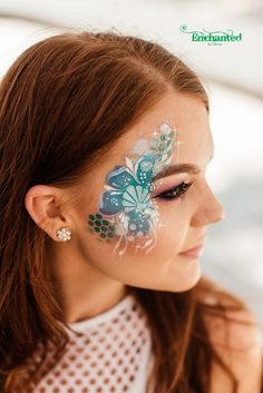 The client wanted a design to match her party's Under the Sea theme so I used different shades of blue combined with white Adult Face Painting, Painting For Kids, Professional Face Paint, Under The Sea Theme, Face Painting Designs, Hula Hoop, Something Blue, Shades Of Blue, Halloween Makeup
