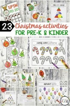 23 Christmas Activities for pre-k and kindergarten kids this holiday season! Perfect way to add some candy canes, trees, ornaments, reindeer, Santa and his elves to math centers and literacy centers this winter! #playdoughtoplato #Christmasliteracycenters #holidayliteracycenter #Prekmathcenters #kindergartenmathcenters #christmasmathcenters