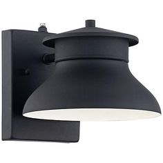 "LED Energy Efficient Black 6"" High Outdoor Wall Light  10 for garage and outside please put some up about 14 feet on some poles for yard lighting"