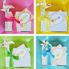 Rainbow Birthday Lunch: It's chow time! Each party guest was served their own boxed lunch tied up with matching ribbon and their name labeled on it. Source: Belva June