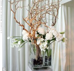 love love love the natural wood with white flowers, Manzanita branches and white calla lilies and hydrangeas, bridal bouquet color scheme?