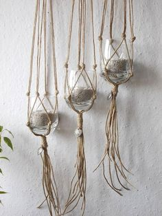 Set of THREE macrame plant hangers-indoor plant by MadeByMiculinko