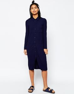 ASOS Midi Shirt Dress In Rib