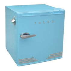 IGLOO 1.6 cu. ft. Mini Refrigerator in Blue-FR176-BLUE - The Home Depot $129. Love the chrome details!