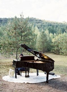 Grand Piano at this Outdoor Wedding