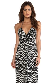 T-Bags LosAngeles Maxi Halter Dress in Black White Ikat from REVOLVEclothing