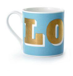 Sky Blue & Gold Love  Mug