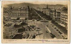 ANTIGUA ESPAÑA CIRCA 1900 BARCELONA Plaza de Cataluña y Paseo de Gracia.