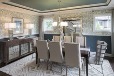 Dining room from The Official Home Showcase of the Builders Association of Greater Indianapolis #carpet #prints #white #cream #blue (Photos by Tony Valainis)