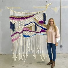 wall hanging finished for a two piece commission from a beautiful retreat guest house at Alentejo ? Can't wait to see it in its forever home. Weaving Textiles, Weaving Art, Tapestry Weaving, Loom Weaving, Hand Weaving, Weaving Projects, Macrame Projects, Macrame Art, Macrame Knots