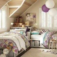 girls room, beds against the wall cornered