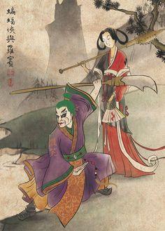 Ancient Chinese Joker and Harley Quinn postcard Batman Comic Art, Joker Art, Batman Artwork, Gotham Batman, Batman Robin, Dc Comics Art, Marvel Dc Comics, Batman Ninja, Batman Beyond